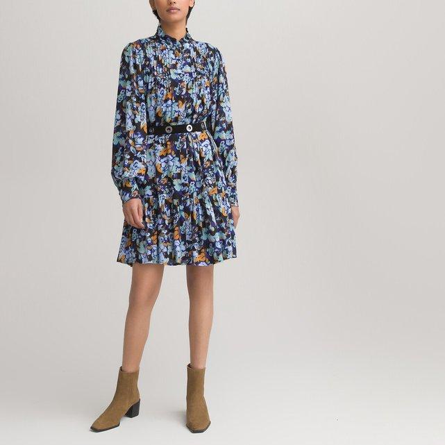 Σεμιζιέ φόρεμα με όρθιο λαιμό και βολάν