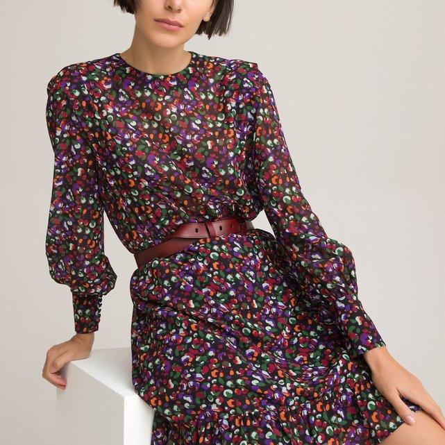 Κοντό φόρεμα με στρογγυλή λαιμόκοψη και animal print