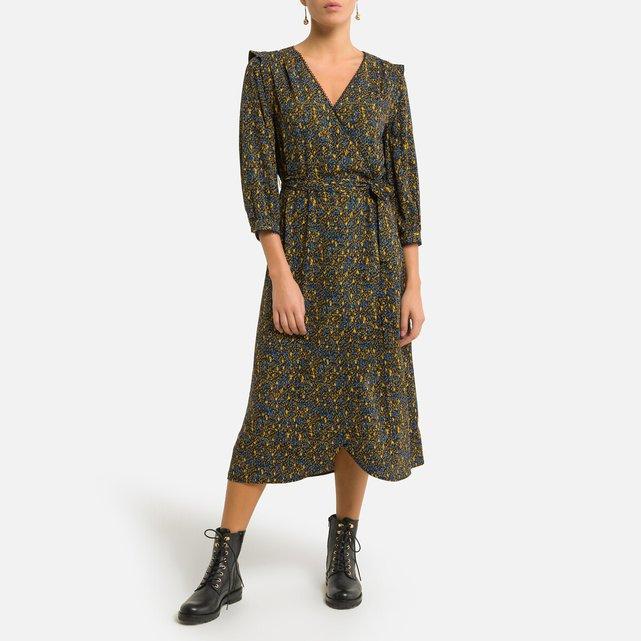 Κρουαζέ μίντι φόρεμα με εμπριμέ μοτίβο