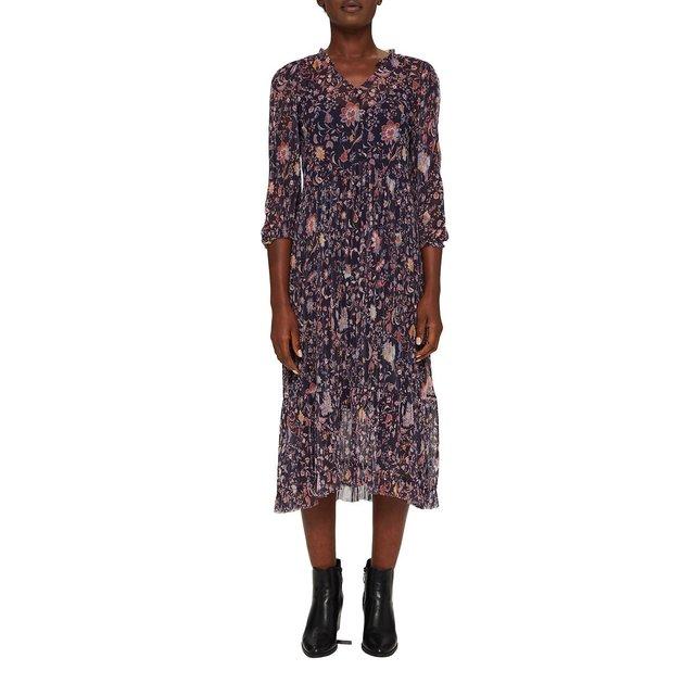 Μακρύ φόρεμα με V και μακριά μανίκια