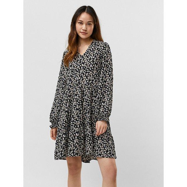 Φλοράλ φόρεμα με V