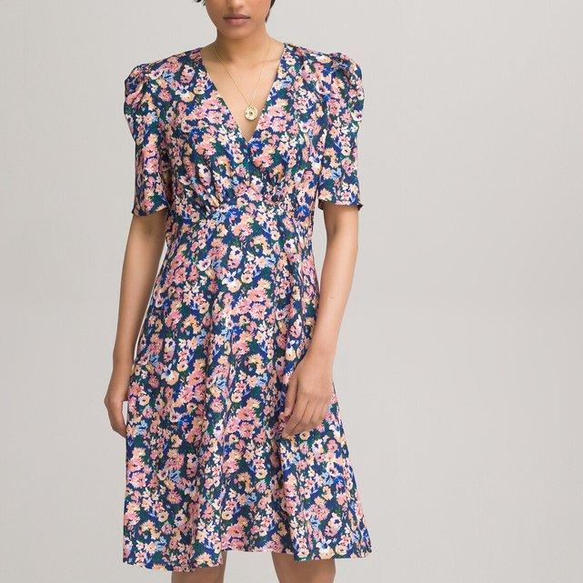 Κοντό εμπριμέ φόρεμα με V και κοντά μανίκια