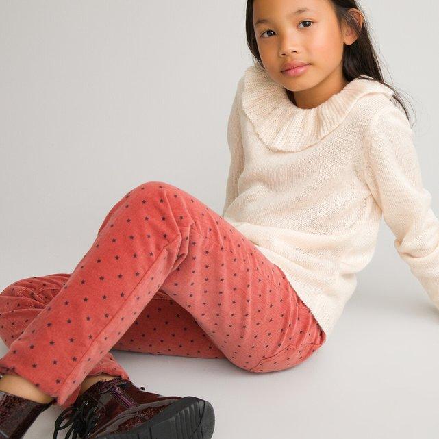 Ελαστικό παντελόνι από βελούδο κοτλέ με μοτίβο αστέρια, 3-12 ετών