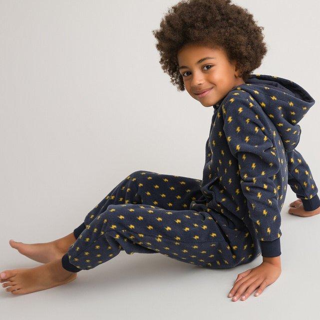 Ολόσωμη φλις πιτζάμα με εμπριμέ μοτίβο, 3-14 ετών