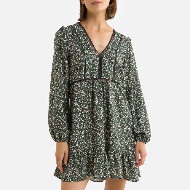 Κοντό φλοράλ φόρεμα με V και μανίκια 3|4