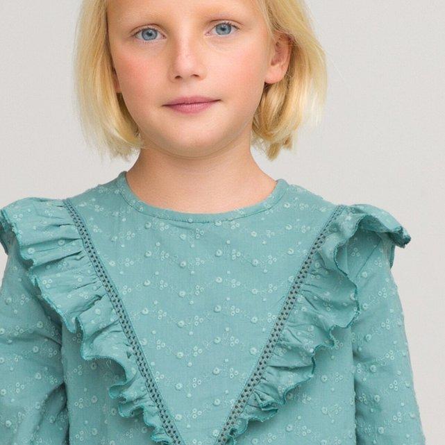 Μακρυμάνικο φόρεμα με κέντημα και βολάν, 3-12 ετών