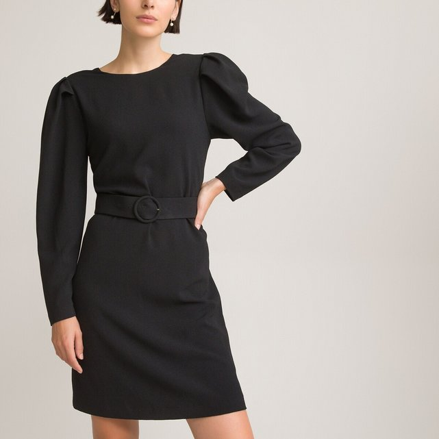 Μακρυμάνικο κοντό φόρεμα με στρογγυλή λαιμόκοψη