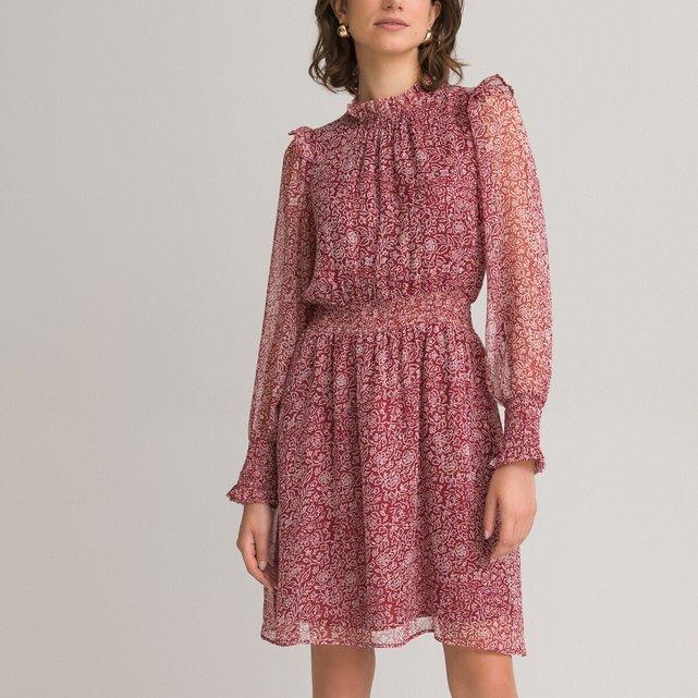 Μακρυμάνικο φόρεμα με όρθιο λαιμό και βολάν
