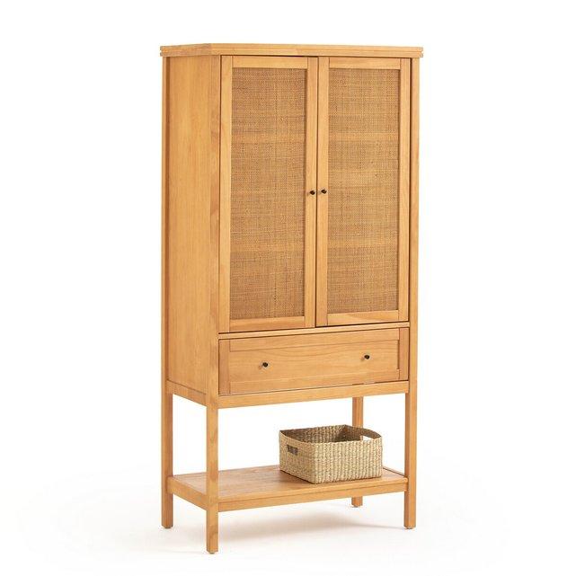 Μπουφές από μασίφ ξύλο πεύκου και ψάθα, Gabin