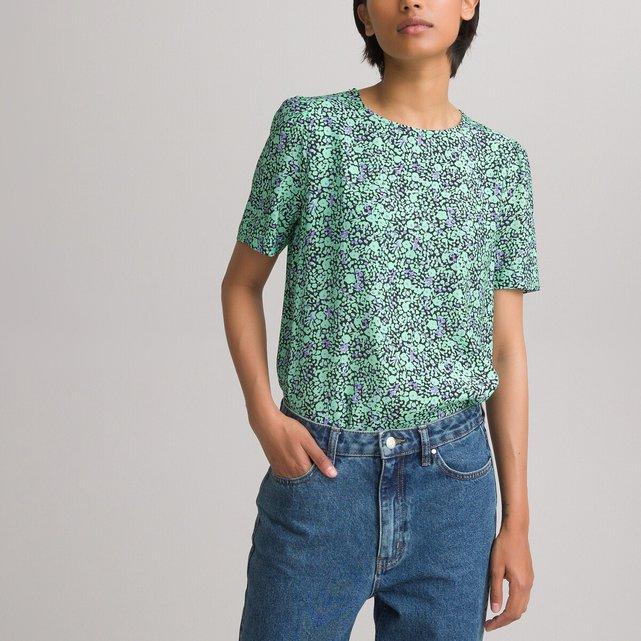 Εμπριμέ φλοράλ μπλούζα με στρογγυλή λαιμόκοψη
