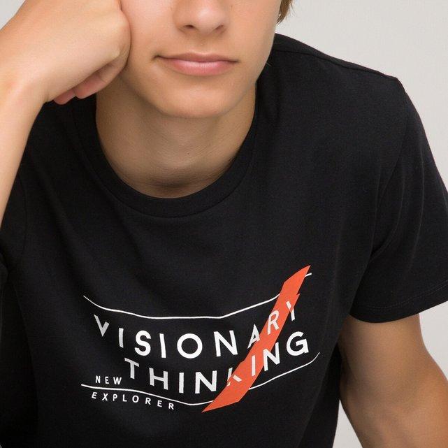 T-shirt από οργανικό βαμβάκι με στάμπα μπροστά, 10-18 ετών