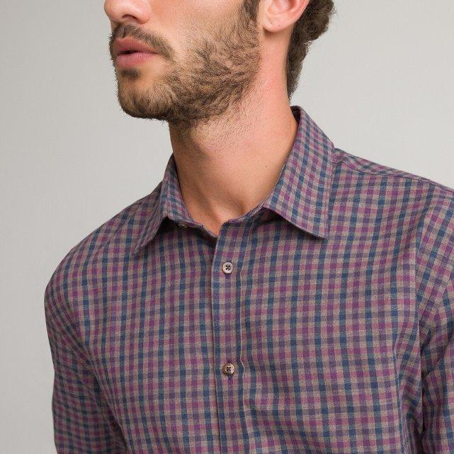 Μακρυμάνικο slim πουκάμισο με μικρά καρό