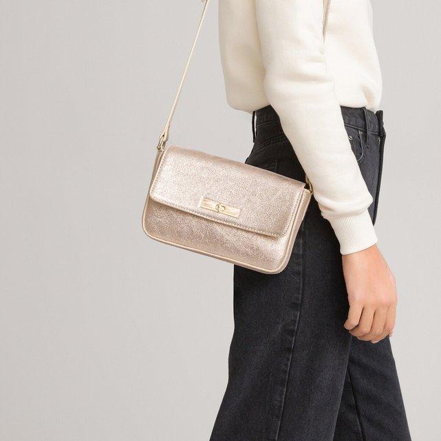 Δερμάτινη τσάντα με γυαλιστερή όψη