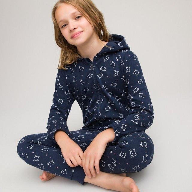 Εμπριμέ ολόσωμη πιτζάμα από φανέλα, 3 - 14 ετών