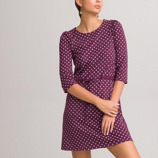 Κοντό εμπριμέ φόρεμα με μανίκια 3|4