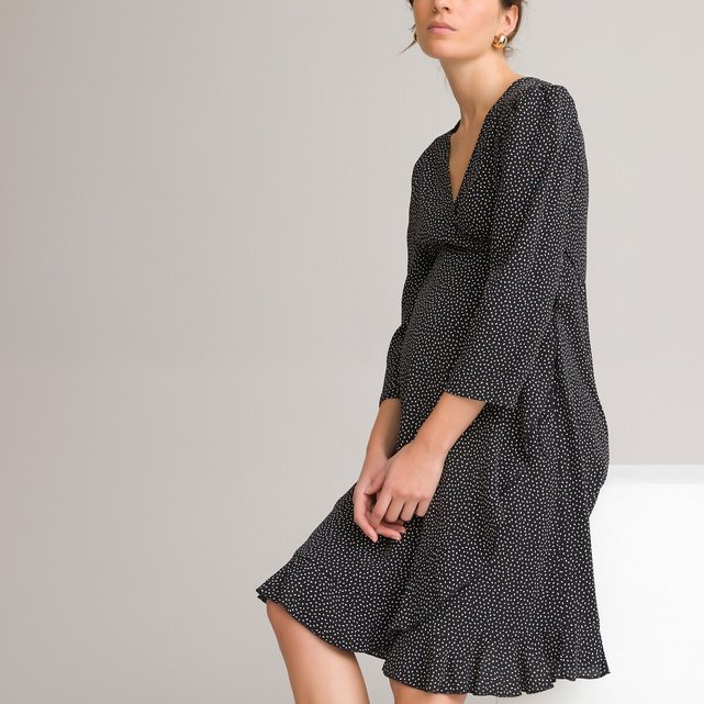 Κρουαζέ φόρεμα εγκυμοσύνης με πουά μοτίβο