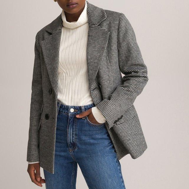 Μίντι παλτό με μοτίβο πιε-ντε-πουλ