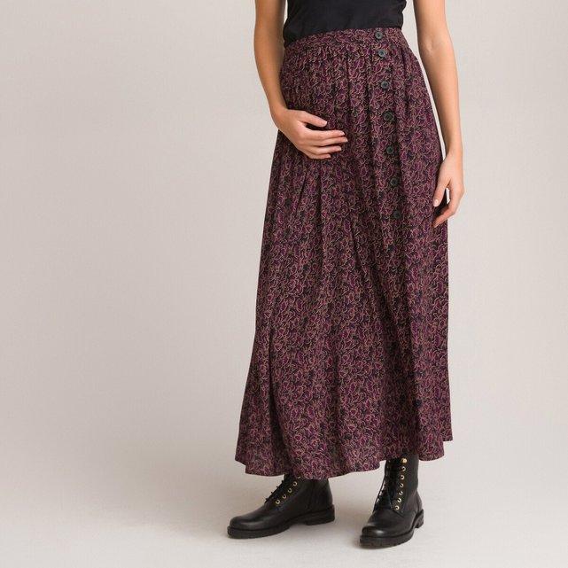 Μακριά φούστα εγκυμοσύνης με φλοράλ μοτίβο