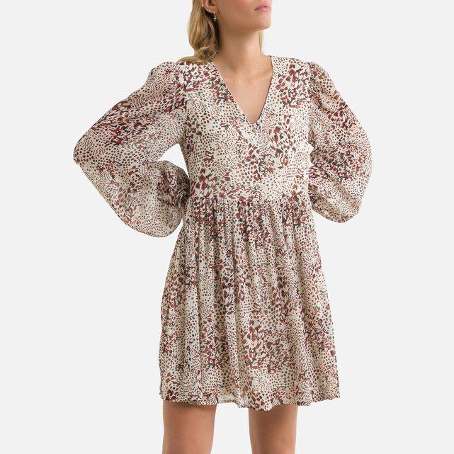 Κοντό εμπριμέ φόρεμα με V