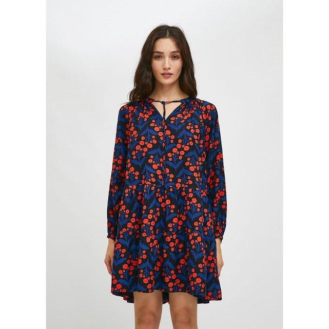 Μακρύ φλοράλ φόρεμα σε φαρδιά γραμμή