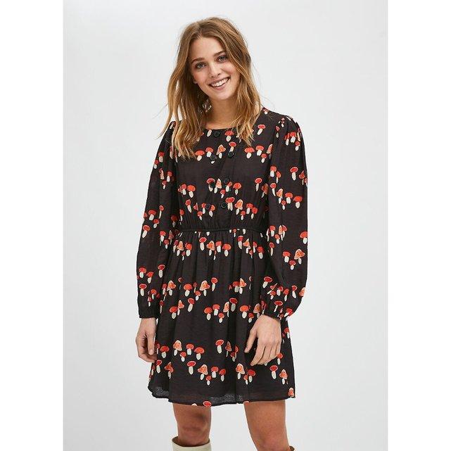 Κοντό μακρυμάνικο φόρεμα με μοτίβο μανιτάρια