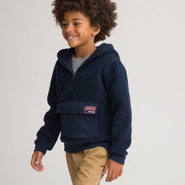 Φλις φούτερ με κουκούλα και όψη μουτόν, 3-12 ετών