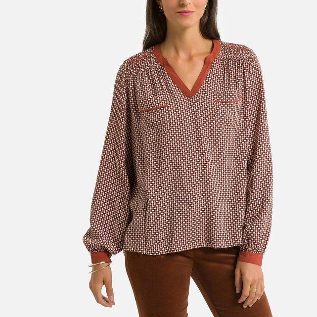 Εβαζέ μπλούζα με κουμπιά στη λαιμόκοψη και εμπριμέ μοτίβο