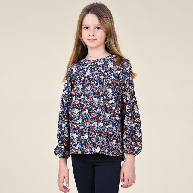 Φλοράλ μπλούζα με στρογγυλή λαιμόκοψη, 8 - 16 ετών