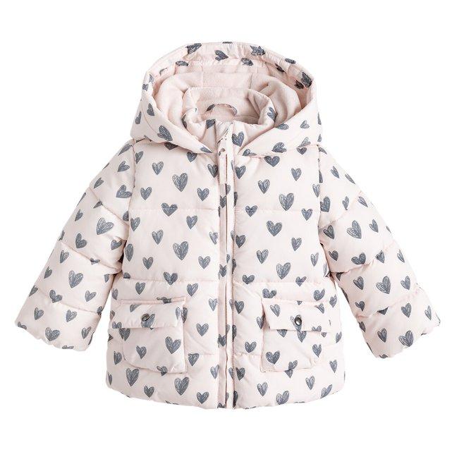 Καπιτονέ μπουφάν με κουκούλα και μοτίβο καρδούλες, 3 μηνών - 4 ετών