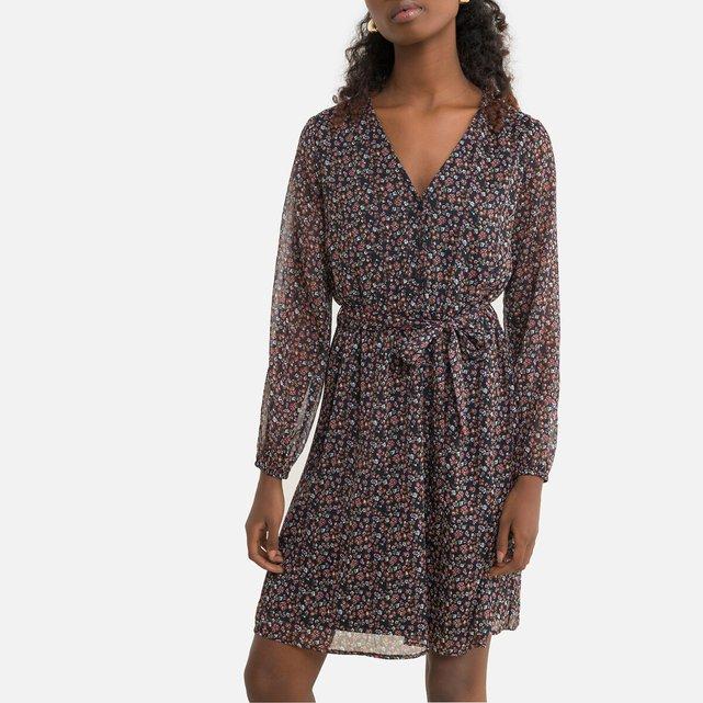 Κοντό φλοράλ φόρεμα με V
