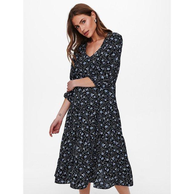 Μίντι φλοράλ φόρεμα με μανίκια 3|4