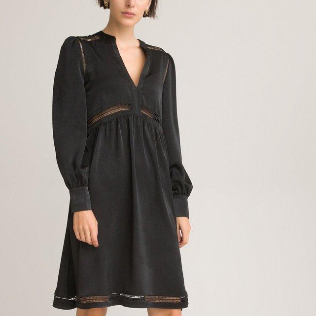 Μακρυμάνικο φόρεμα σε εβαζέ γραμμή