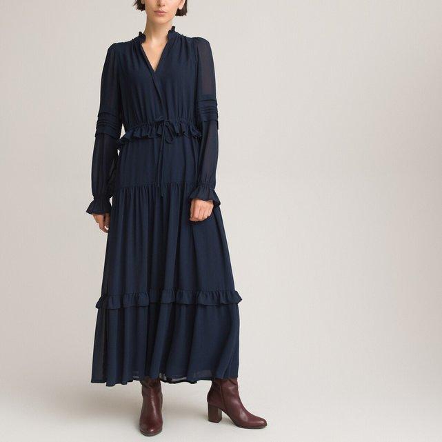 Μάξι φόρεμα με όρθιο λαιμό και βολάν