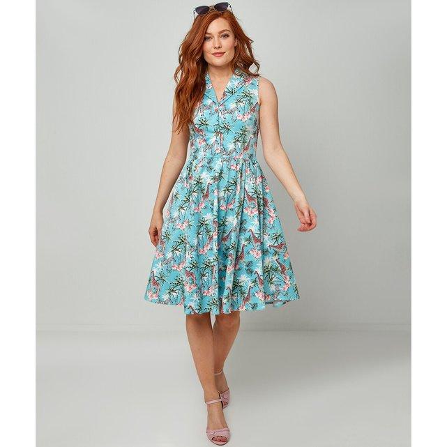 Αμάνικο σεμιζιέ φόρεμα με φλοράλ μοτίβο