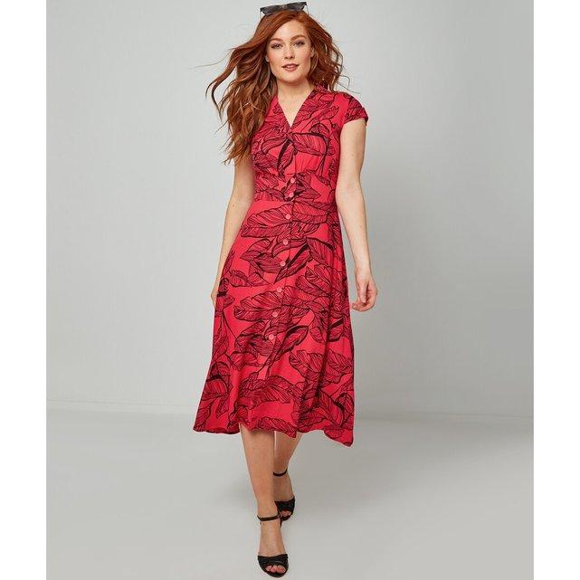 Μίντι σεμιζιέ φόρεμα με φλοράλ μοτίβο