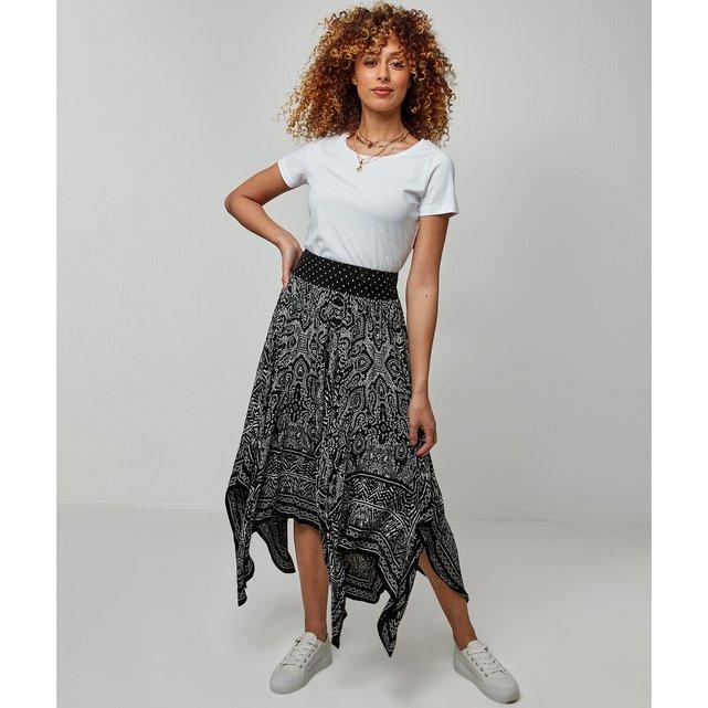 Μίντι ασύμμετρη φούστα με εμπριμέ μοτίβο