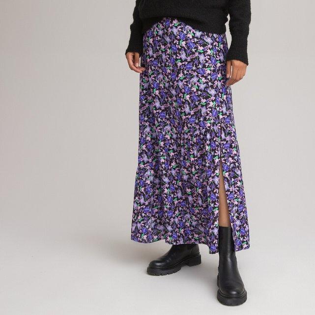 Μακρά ζακάρ φούστα με φλοράλ μοτίβο