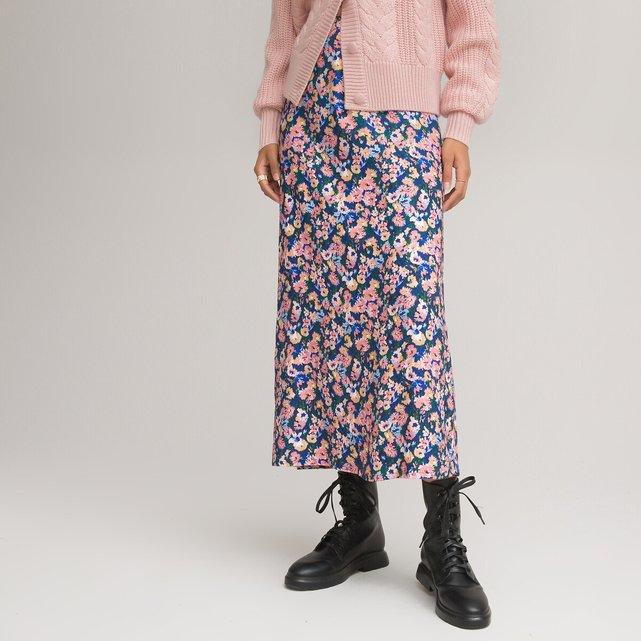 Μακριά ίσια φούστα με φλοράλ μοτίβο