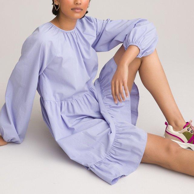 Μακρυμάνικο κοντό φόρεμα σε εβαζέ γραμμή