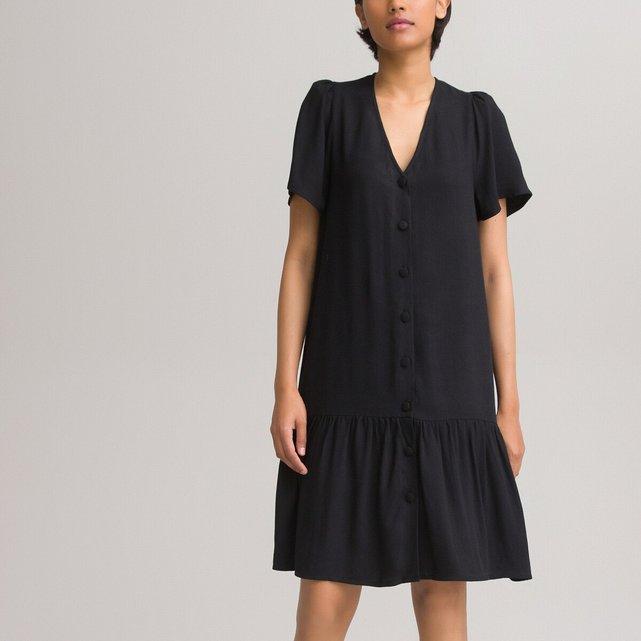Κοντό φόρεμα με V και βολάν στη βάση