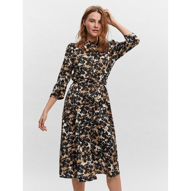 Εμπριμέ σεμιζιέ φόρεμα με μανίκια 3|4