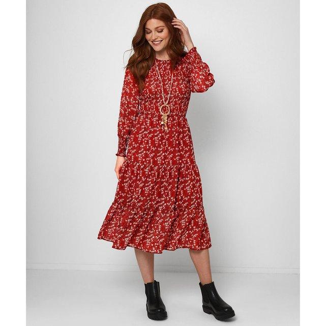 Μακρυμάνικο μίντι φόρεμα με στρογγυλή λαιμόκοψη