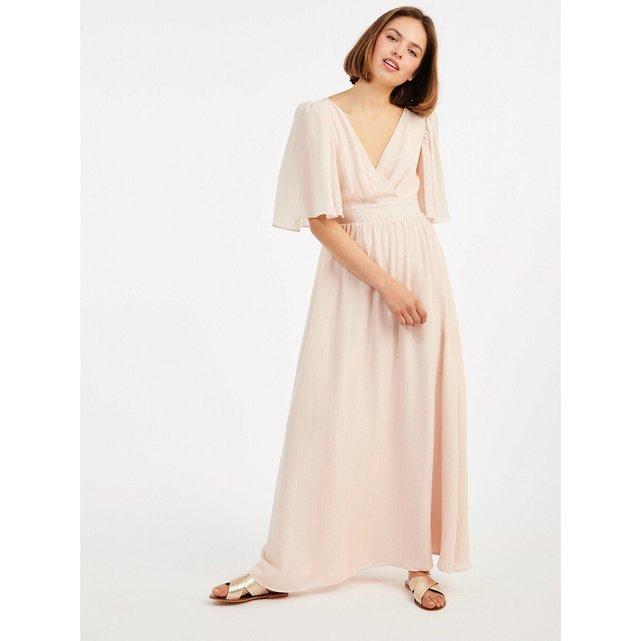 Μακρύ κρουαζέ φόρεμα με γυαλιστερές ρίγες