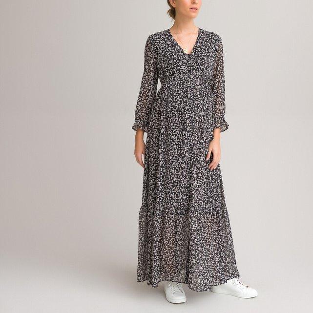 Μακρύ φόρεμα εγκυμοσύνης με κουμπιά
