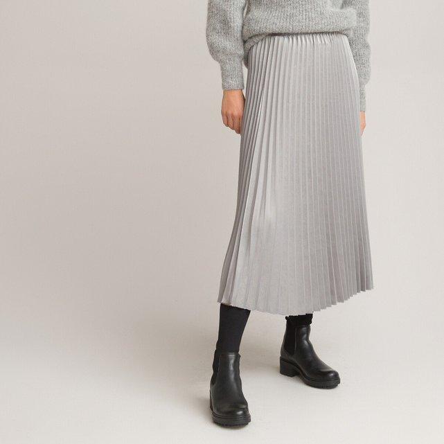 Μίντι πλισέ φούστα από σατέν