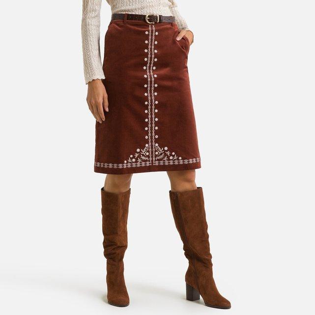 Μίντι εβαζέ φούστα με κέντημα