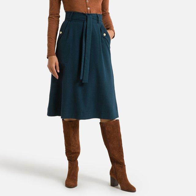 Εβαζέ φούστα με όψη φανέλας και ζώνη