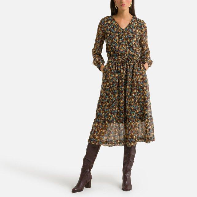 Μίντι φλοράλ φόρεμα σε ίσια γραμμή