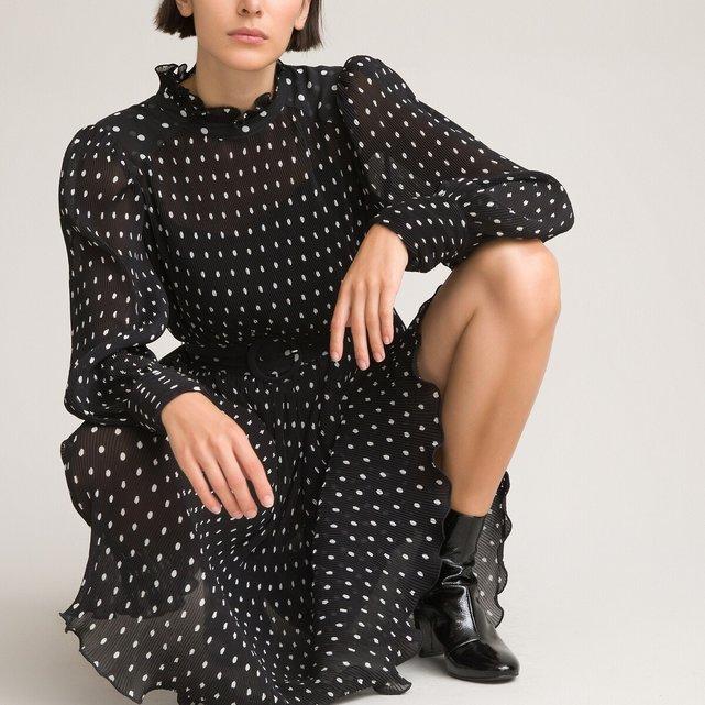 Πλισέ φόρεμα με πουά μοτίβο