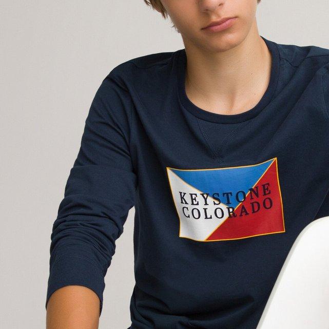 Μακρυμάνικη μπλούζα με στάμπα, 10-18 ετών